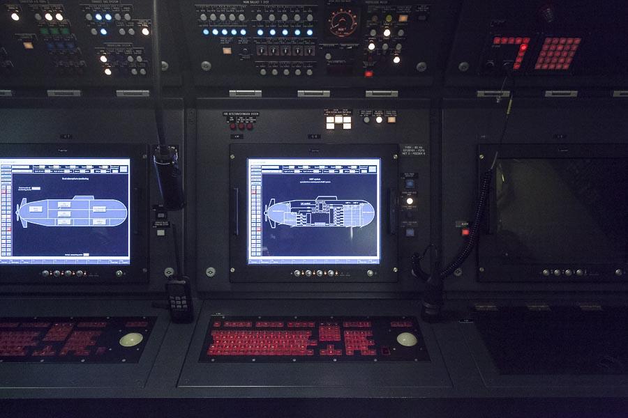 2016, LA SPEZIA, ITALY, PIETRO VENUTI S 528. Il nuovo sottomarino della Marina Militare Italiana. Camera di manovra. © FABRIZIOGIRALDI